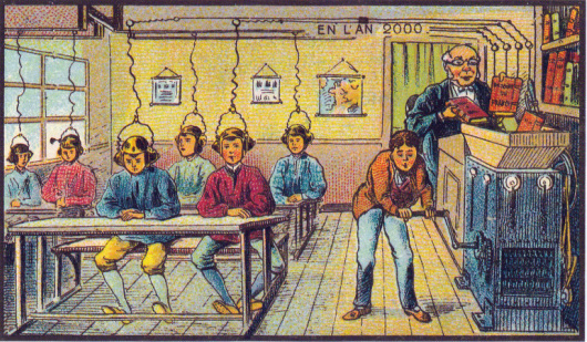 learningmachine-Postcard from the World's Fair in Paris-Circa 1899 A Futuristic Image of Learning At School in the Year 2000 Image Source via Wikimedia Commons